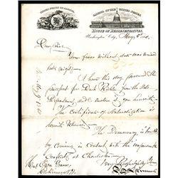 Francis E. Spinner, 1860, Historic Handwritten Letter on House of Representatives Letter Sheet.