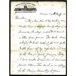 Francis E. Spinner, October 1861, Historic Handwritten Letter on House of Representatives Letter She