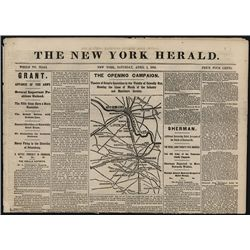 New York Herald, April 1st, 1865, Newspaper with Late Civil War News and Map.