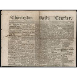Confederate South Carolina Newspaper, Charleston Daily Courier With 1862 Civil War News.