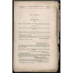 1866 Report to Congress from the President Andrew Johnson Regarding Arrest of John H. Surratt.