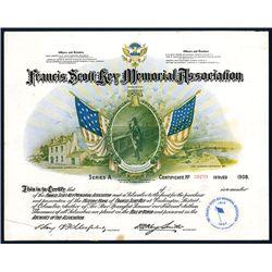 Francis Scott Key Memorial Association, Issued Membership Certificate.