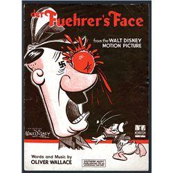 "Walt Disney's ""Der Fuehrer's Face "" Donald Duck Cartoon Sheet Music from Movie of Same Name."