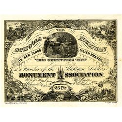 Michigan Soldiers Monument Association Certificate, ca. 1860's Civil War Certificate.