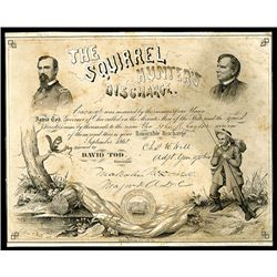 Squirrel Hunter's Discharge, 1862 Honorable Ohio Discharge Certificate.