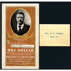 "Theodore Rooselvelt 1903 Contribution Certificate for ""Entertaining the President of the U.S. "" Upon"