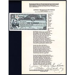 Republican Headquarters National Committee Unused Certificate with Signed 1922 Poem by Edwin Markham