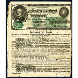 U.S. Greenback for Bonds Satirical Note With Facsimile 1860's Legal Tender Note.
