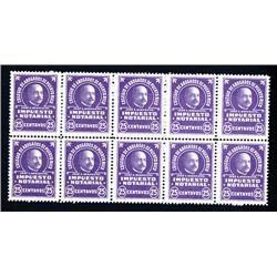 Colegio De Abogados Dfe Puerto Rico - Impuesto Notario 25 cents Revenue Stamp Block of 10.