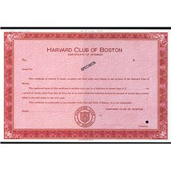 Harvard Club of Boston, Specimen Stock.