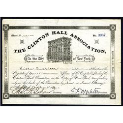 Clinton Hall Association Issued Stock.