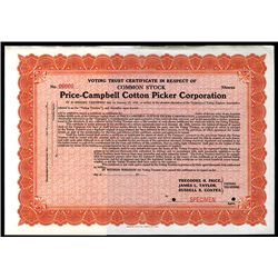 Price-Campbell Cotton Picker Corp., Specimen Stock.