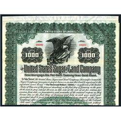 United States Sugar & Land Co., Specimen Bond.
