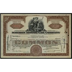 Marmon Motor Car Co., Issued Stock.