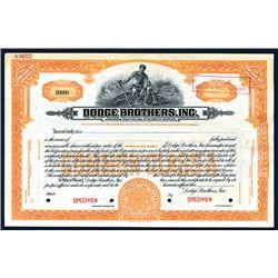 Dodge Brothers, Inc., Specimen Stock.