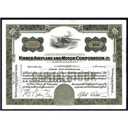 Kinner Airplane Motor Corp., Issued Stock.