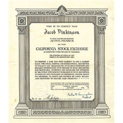 California Stock Exchange Unframed Membership Certificate.