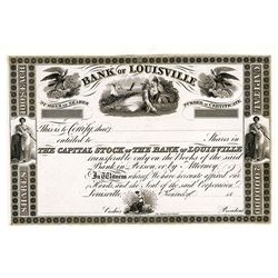 Bank of Louisville, Proof Stock Certificate.
