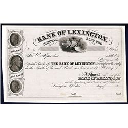 Bank of Lexington, Proof Stock Certificate.