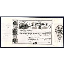 Bank of Vicksburg, ca. 1831 Proof Stock Certificate.