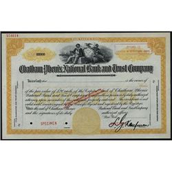 Chatham Phenix National Bank and Trust Co., Specimen Stock.