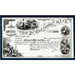 Burlington Bank, Proof Stock Certificate.