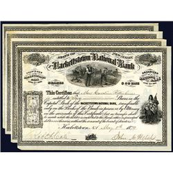 Hackettstown National Bank, 1872-1879 Issued Stock Certificate Group of 4.