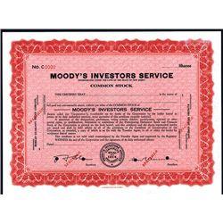 Moody's Investors Service, Specimen Stock.