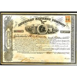 American Express Company, Stock Certificate With Henry Wells Signature as President