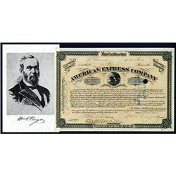 American Express Company, Type VI, Stock Certificate With William Fargo Signature as President