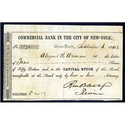 Commercial Bank in the City of New-York, 1842 Issued Stock Certificate.