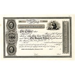Erie Salt Co. Through the Bank of Richmond, Proof Stock Certificate.