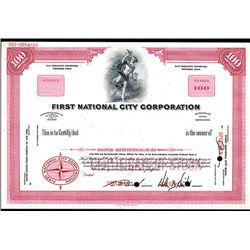 First National City Corp., Specimen Stock Certificate.