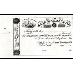 Bank of Chillicothe, Proof Stock Certificate.