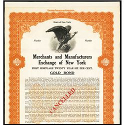 Merchants and Manufacturers Exchange of New York, Specimen Bond.