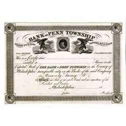 Bank of Penn Township, Proof Stock Certificate.