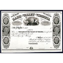 Bank of the Valley in Virginia, Proof Stock Certificate.