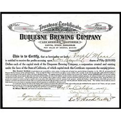Duquesne Brewing Co., Issued Stock.