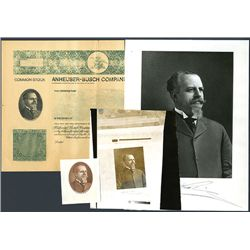 Anheuser-Busch Co. Specimen Bond with Photo and Vignette of Adolphus Busch.