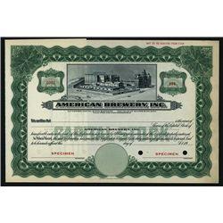 American Brewery, Inc., Specimen Stock.