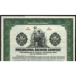 Philadelphia Brewing Co. Specimen Bond.