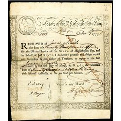 State of Massachusetts Bay, Issued Bond.