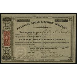 National Segar Machine Co. Issued Stock.