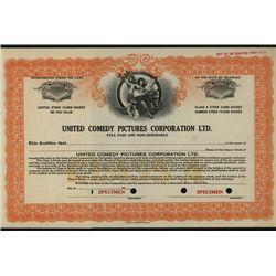 United Comedy Pictures Corp., Ltd., Specimen Stock.