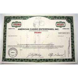 American Casino Enterprises, Inc., Specimen Stock.