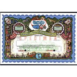 Colorful Ringling Bros. - Barnum & Bailey Combined Shows, Specimen Stock Certificate.