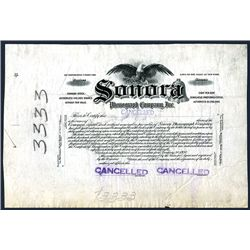 Sonora Phonograph Company, Inc. Specimen Stock.