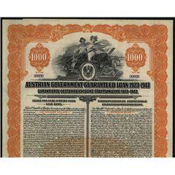 Austrian Guaranteed Loan 1923-1943 Specimen Bond.