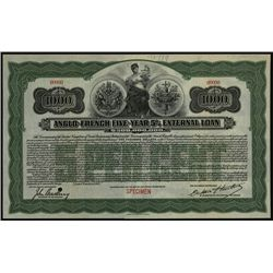 Anglo-French Five-Year 5% External Loan, Specimen Bond.