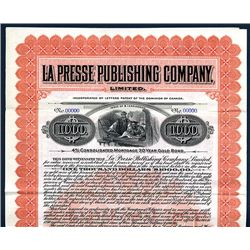 La Presse Publishing Co., Specimen Bond.
